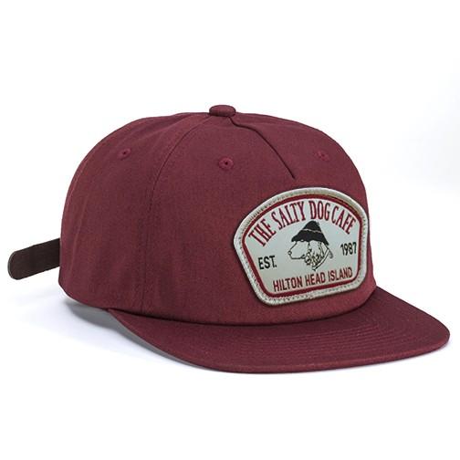 Hat Pinch Front Flat Bill Hat in Maroon