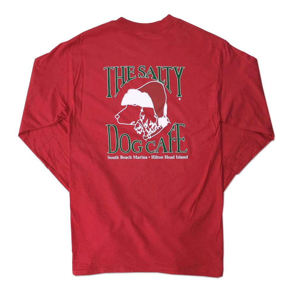 Hanes Santa Dog Red Adult Long Sleeve Tee