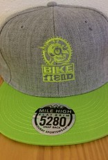 Ouray Bike Fiend Lime Green/Gray Flatbill Cap
