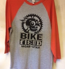 Ouray Bike Fiend Orange Baseball Tee