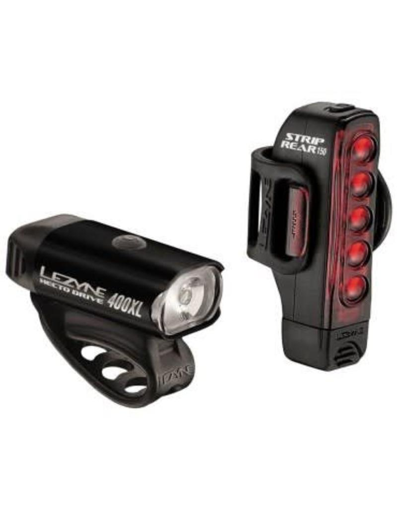 Lezyne Hecto Drive 400XL/Strip Drive USB LED 400/150lm Light Set Black #P
