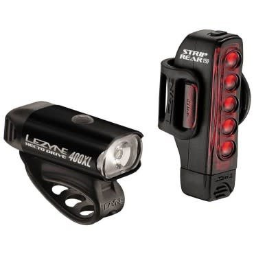 Lezyne Hecto Drive 400XL/Strip Drive USB LED 400/150lm Light Set Black #P