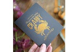 Bespoke Letter Press Bespoke Letterpress Greeting Card - Feeling Crabby (foil)