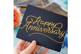 Bespoke Letter Press Bespoke Letterpress Greeting Card - Happy Anniversary (foil)