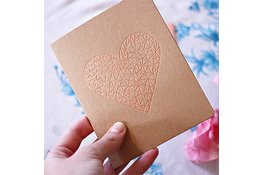 Bespoke Letter Press Bespoke Letterpress Greeting Card - Rose Gold Heart (foil)