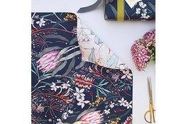 Bespoke Letter Press Bespoke Double Sided Gift Wrap - Native / Cockatoo