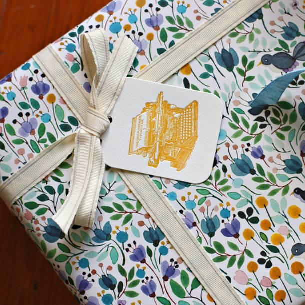 Bespoke Letter Press Bespoke Double Sided Gift Wrap - Blackbirds / Mustard Chevron