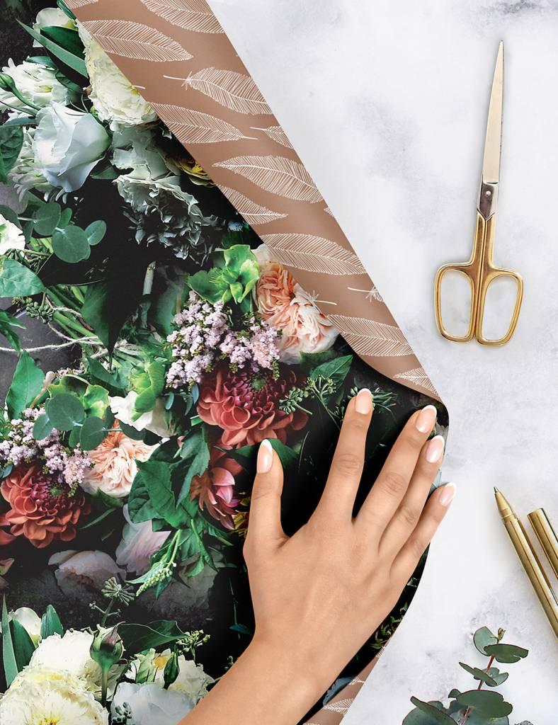 Bespoke Letter Press Bespoke Double Sided Gift Wrap - Botanica / Gold Feathers