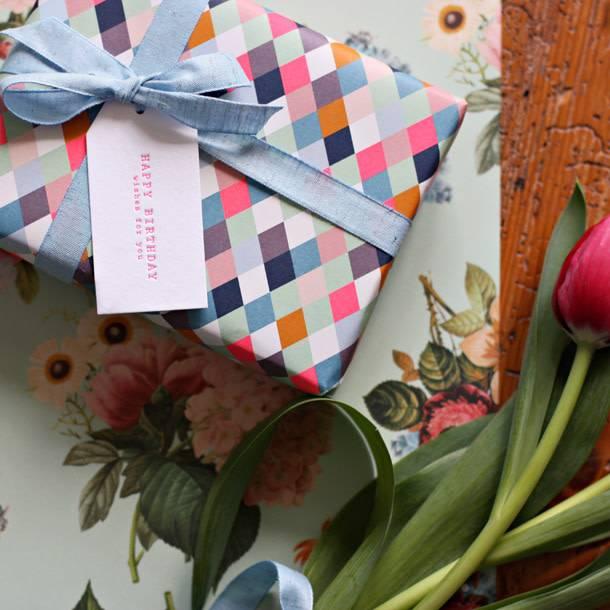 Bespoke Letter Press Bespoke Double Sided Gift Wrap - Floral Bouquet / Neon Diamonds