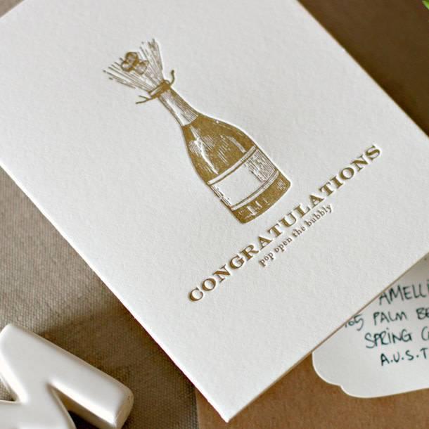 Bespoke Letter Press Bespoke Letterpress Greeting Card - Congratulations, pop open the Bubbly