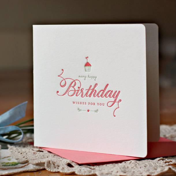 Bespoke Letter Press Bespoke Letterpress Greeting Card - Many Happy Birthday wishes