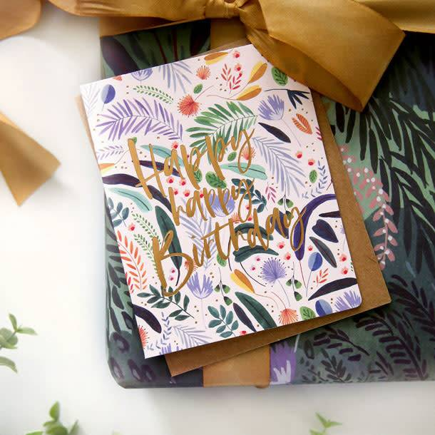 Bespoke Letter Press Bespoke Letterpress Greeting Card - Happy Happy Birthday (Jungle)