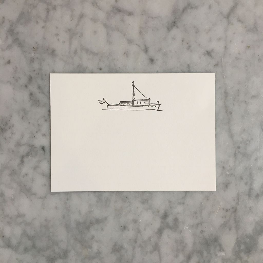 Brown Ink Letterpress Card - Trawler