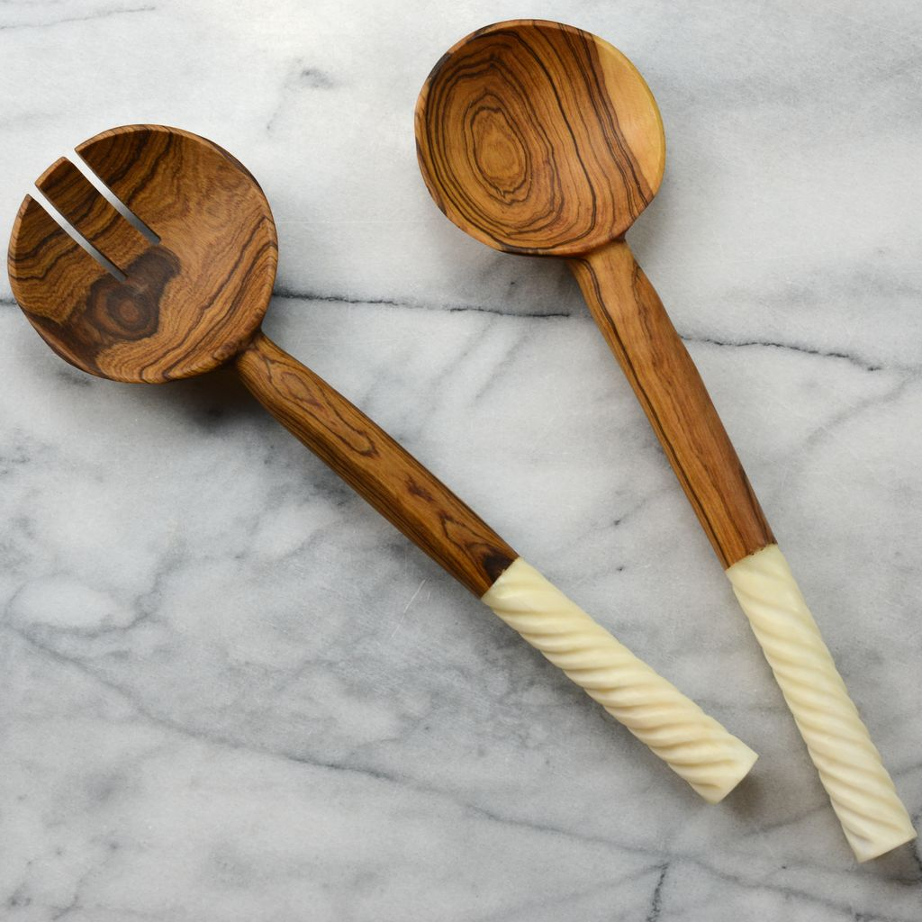 Olivewood Salad Servers with Embelished Bone Handles