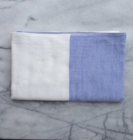 Two Tone Chambray Hand Towel - Blue/White