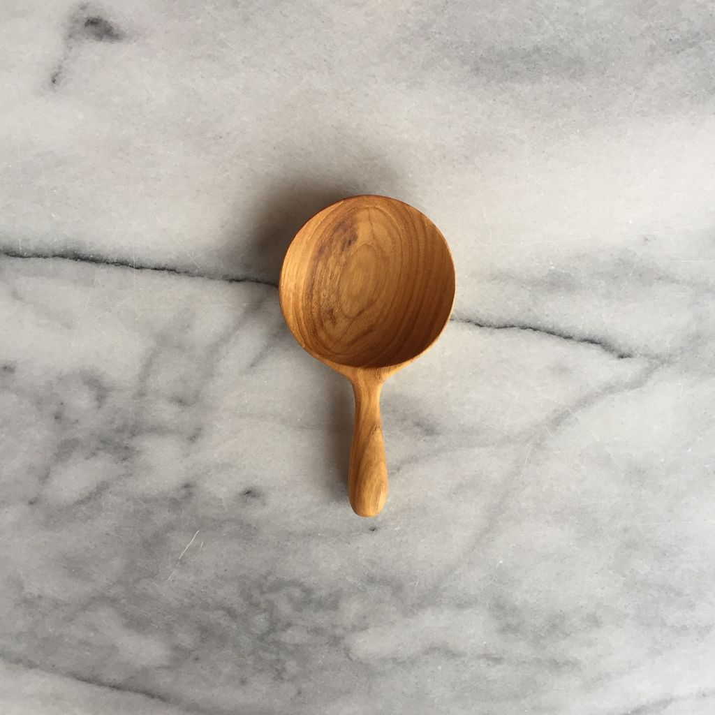 Teak Monocle Round Scoop - 4.5 in