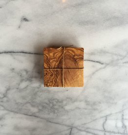 Olive Wood Set of 4 Square Coasters 3.5 in. x 3.5 in.