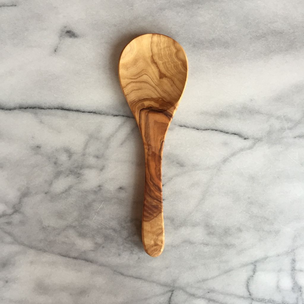 Large Round Olive Wood Spoon - 9 in