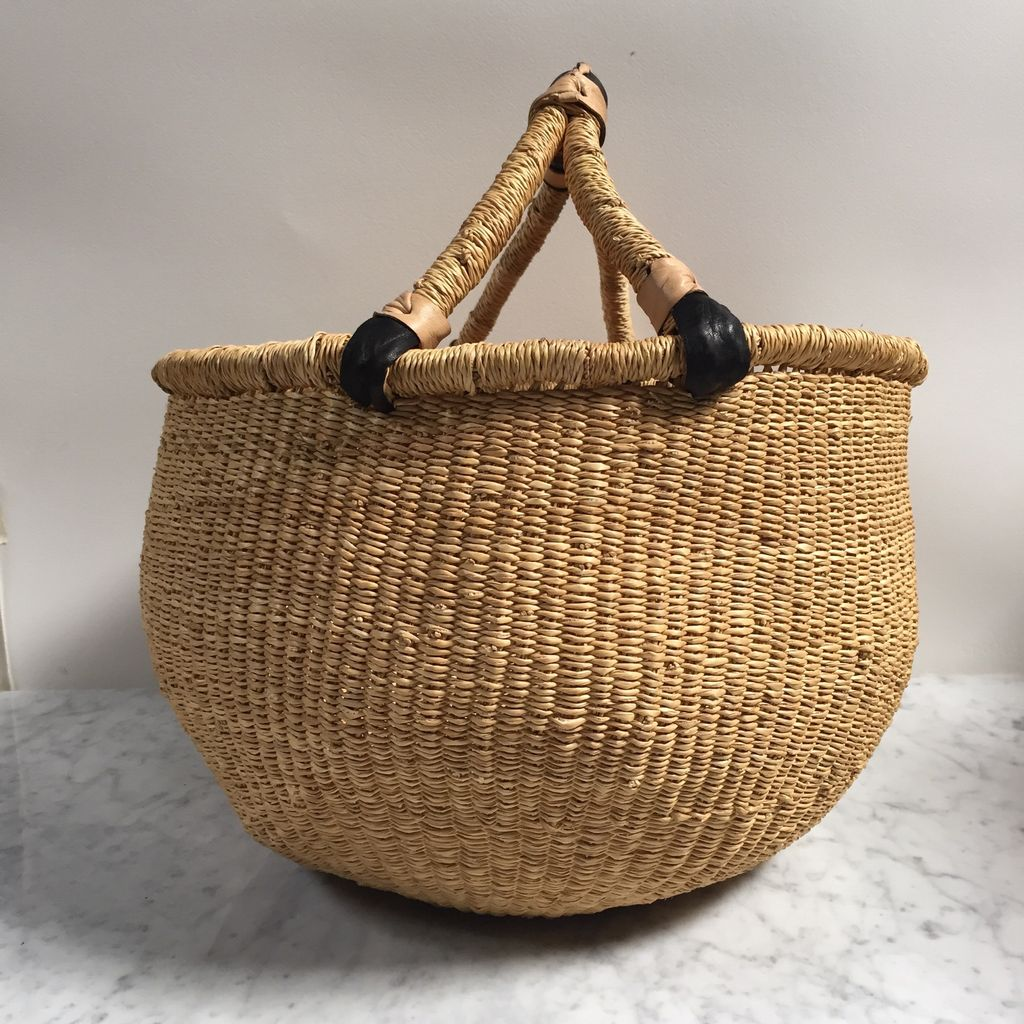 Natural Grass Bolga Shopper Basket - 15 x 18 in