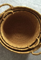 Natural Woven Grass Floor Basket - Large