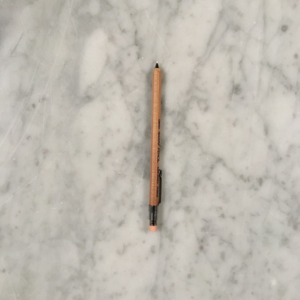 Tiny Wooden Mechanical Pencil with Clip - Short - Natural - 4 in