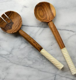 Kenyan Olive Wood Salad Servers - Spiral