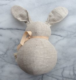 Polka Dot Club Handmade Stuffed Large Rabbit - Natural Linen - 12 in.