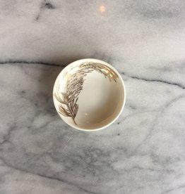 "Caskata Porcelain Pine Branch Dipping Plate Gold 4"""