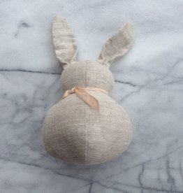 Polka Dot Club Handmade Stuffed Small Rabbit - Natural Linen - 10 in.