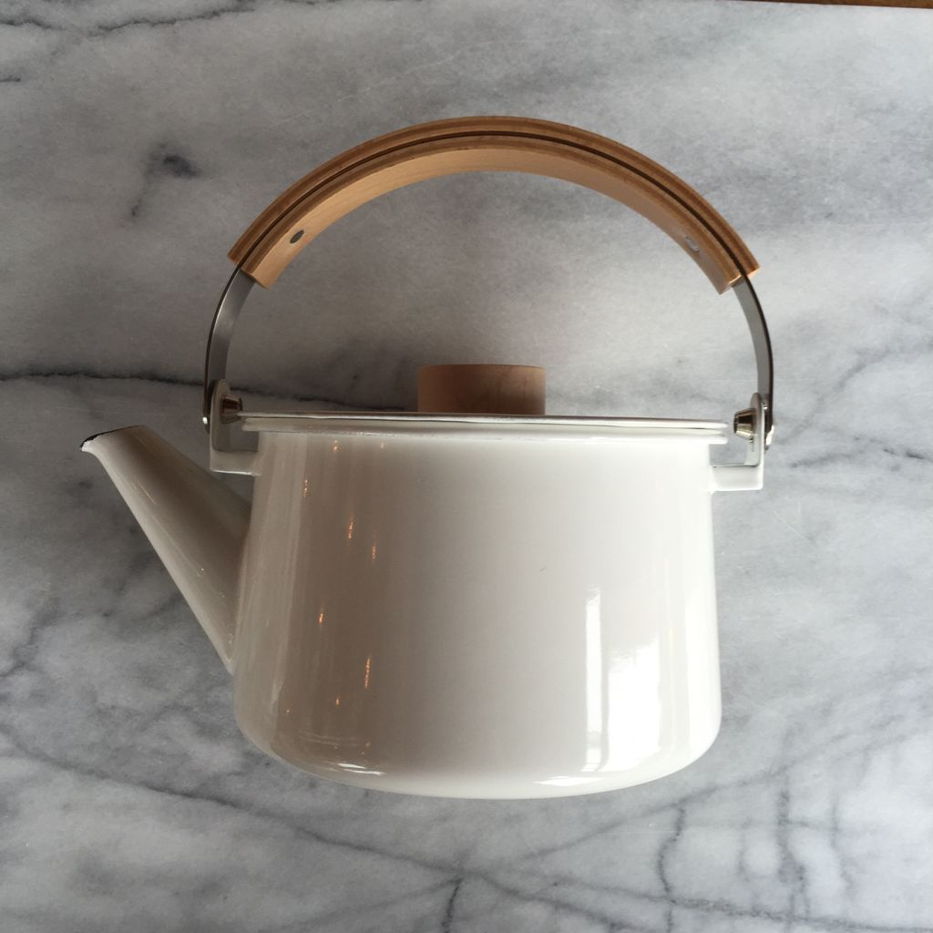 White Enamel Kettle with Top Handle
