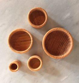 Grimm's Toys Set of 5 Wooden Bowls - Natural - 3.5‰Û D