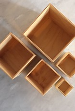 "Grimm's Toys Small Set of 5 Boxes - Natural - 4"" Sq. Largest Box"