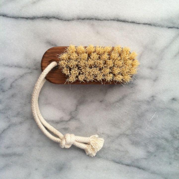 Swedish Lovisa Oiled Oak Nail Brush on Rope