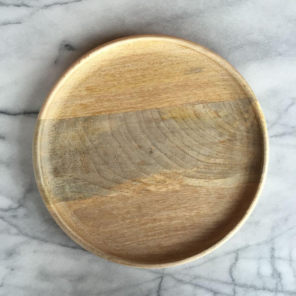 Natural Mango Wood Round Platter - Large