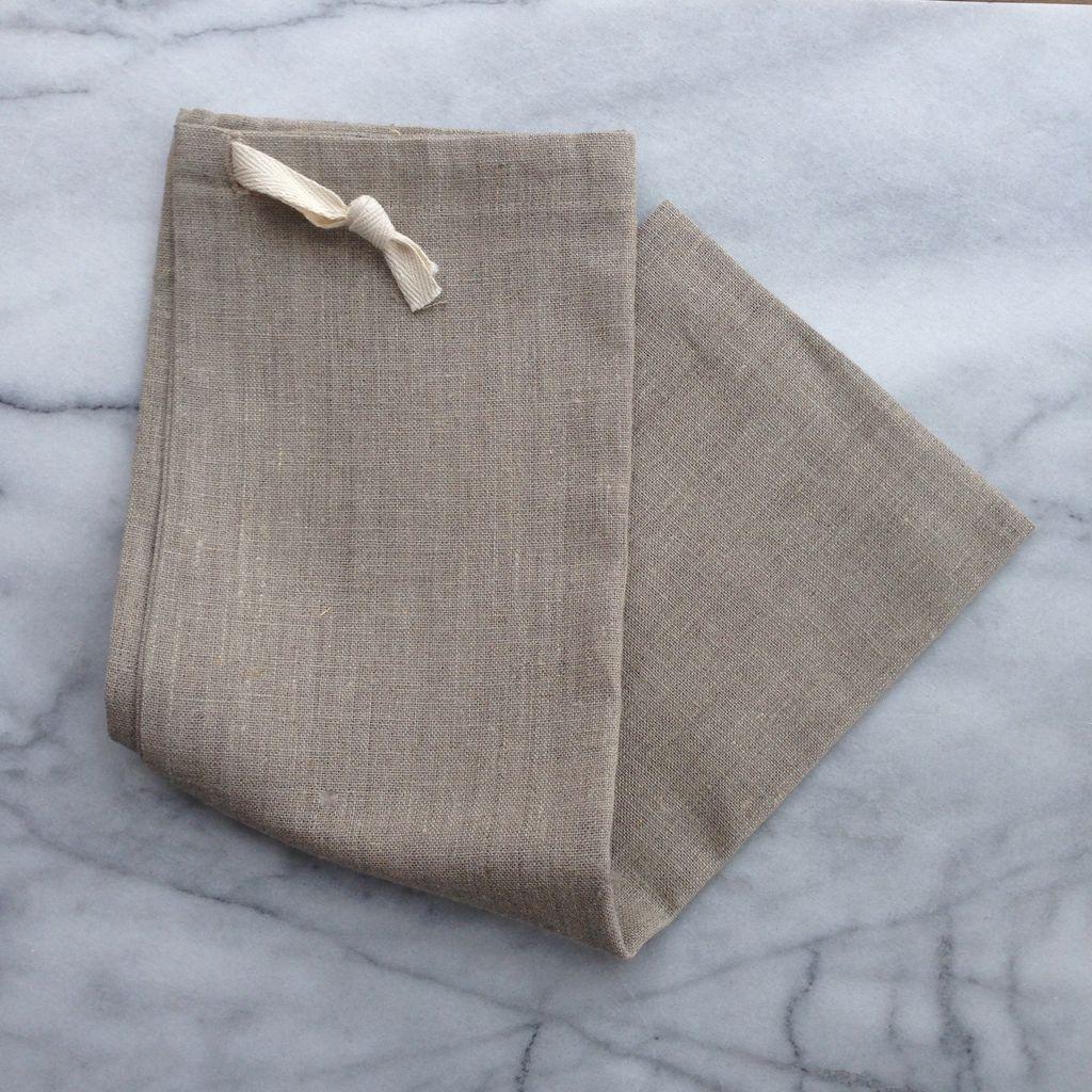 Natural Linen Bread Bag - Long