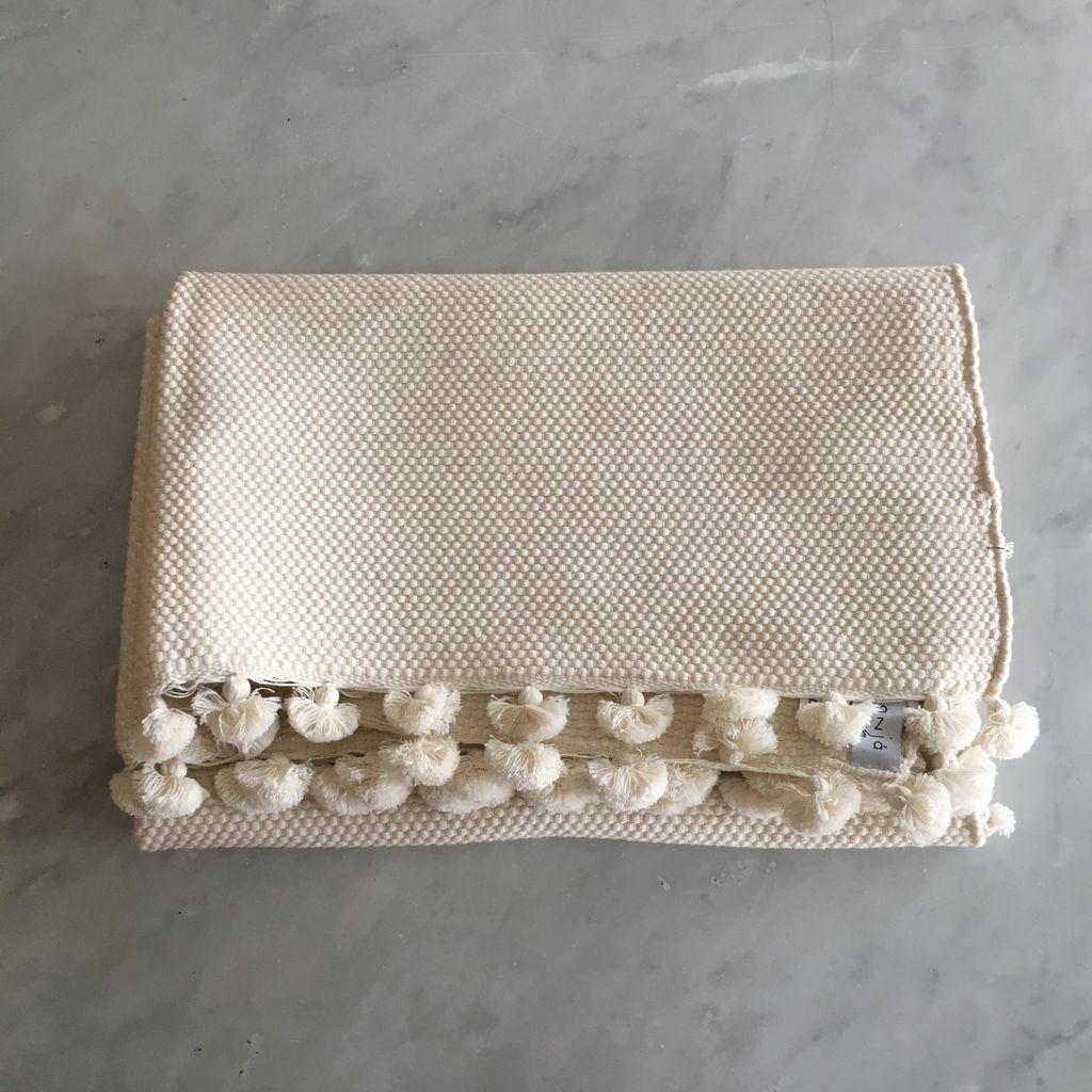 Abanja Moroccan Sadek Cotton Throw Rug or Bath Mat - Large - Ecru White - 40 x 28 in