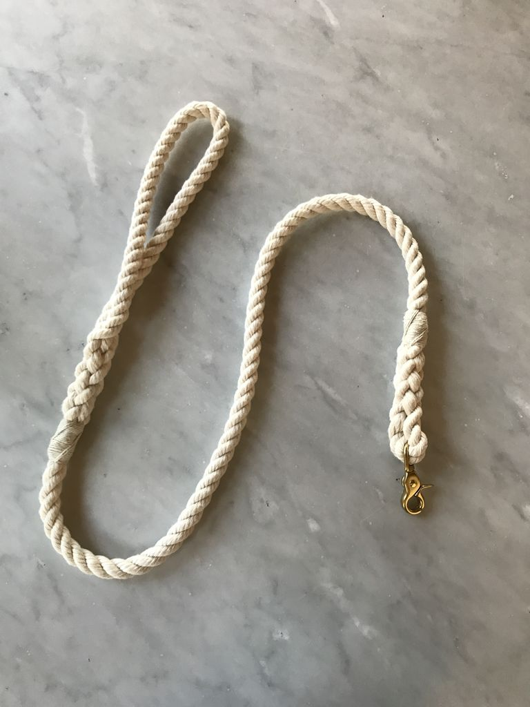 """Natural White 1/2"""" Width Rope Dog Leash - 4' Long"""