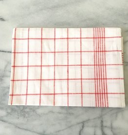 Red Checked Linen Kitchen Towel - 20 x 28 in