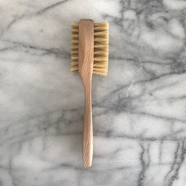 German Beechwood Double Sided Nail Brush with Handle - 7 in
