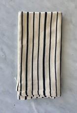 TENSIRA Handwoven Cotton Napkin - Off White with Bold Black Even Stripe  - 19 x 19 in