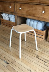 Belgian Stackable Stool White Enamel + Beech Wood - 17.75  in