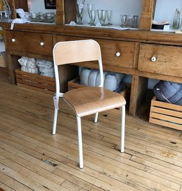 Belgian Stackable School Chair - White Enamel + Beech Wood
