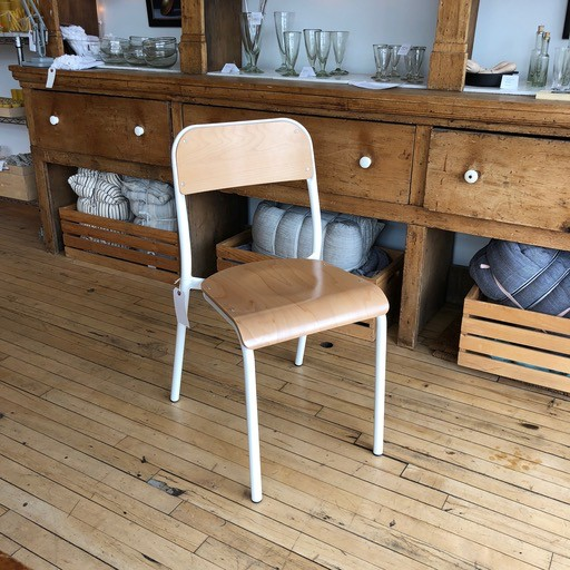 Belgian Stackable School Chair - White Enamel + Beech Wood