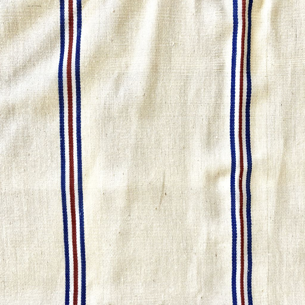 TENSIRA Handwoven Cotton Kitchen Towel - Off White with Red + Blue French Stripe - 20 x 28 in