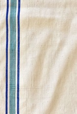 TENSIRA Handwoven Cotton Kitchen Towel - Off White with Blue + Green French Stripe - 20 x 28 in