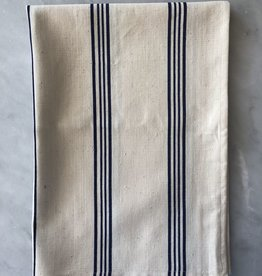 TENSIRA Handwoven Cotton Kitchen Towel - Off White with Navy Blue + Bright White Stripe