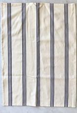 TENSIRA Handwoven Cotton Kitchen Towel - Off White with Navy Blue + Bright White Stripe
