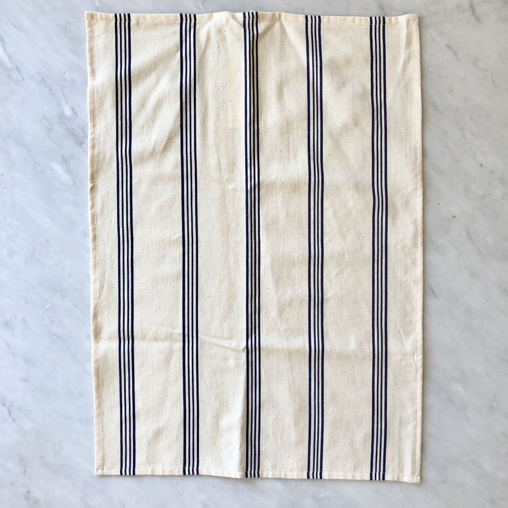 ... TENSIRA Handwoven Cotton Kitchen Towel   Off White With Navy Blue +  Bright White Stripe ...