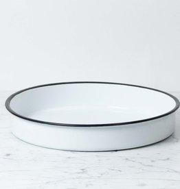 Enamel Platter - White - 14 in