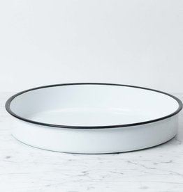 """Enamel Platter - White - 14"""""""